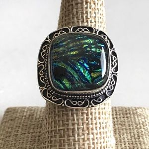 Dichroic Glass Resin Silver Ring 8.5 - 8.75